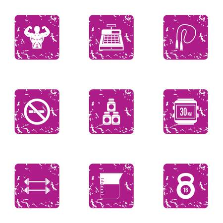 Strengthen health icons set. Grunge set of 9 strengthen health vector icons for web isolated on white background