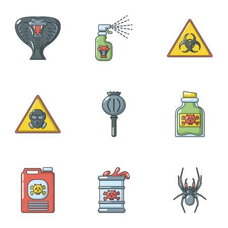 Toxin icons set, cartoon style