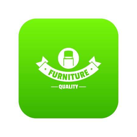 Icône de qualité de meubles vecteur vert