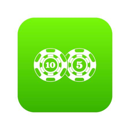 Poker chips nominal five and ten icon digital green for any design isolated on white vector illustration