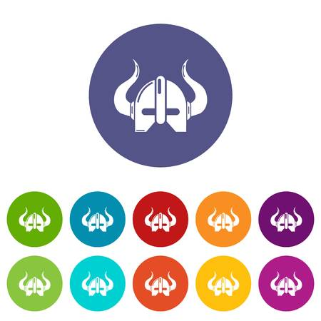 Viking helmet icons color set vector for any web design on white background