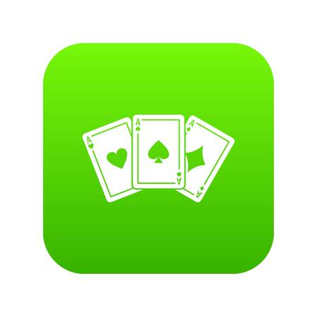 Three aces playing cards icon digital green for any design isolated on white vector illustration