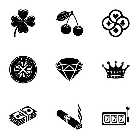 Lucky day icons set, simple style