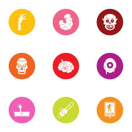 Risen dead icons set, flat style