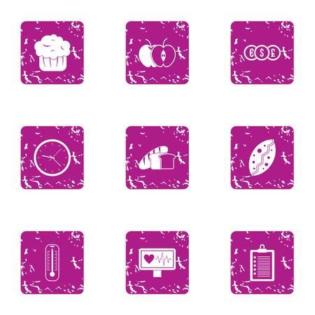 Muffin icons set. Grunge set of 9 muffin vector icons for web isolated on white background