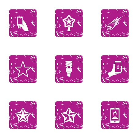 Selfie photo icons set. Grunge set of 9 selfie photo vector icons for web isolated on white background