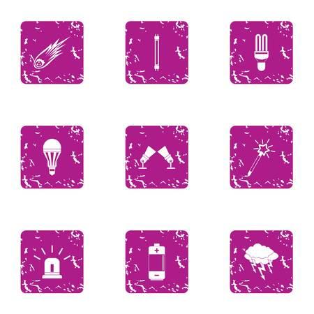 Emergency light icons set. Grunge set of 9 emergency light vector icons for web isolated on white background