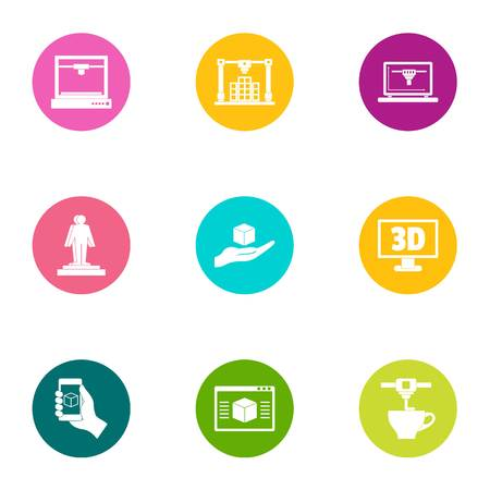 3d icons set. Flat set of 9 3d vector icons for web isolated on white background