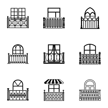 Porch icons set, simple style