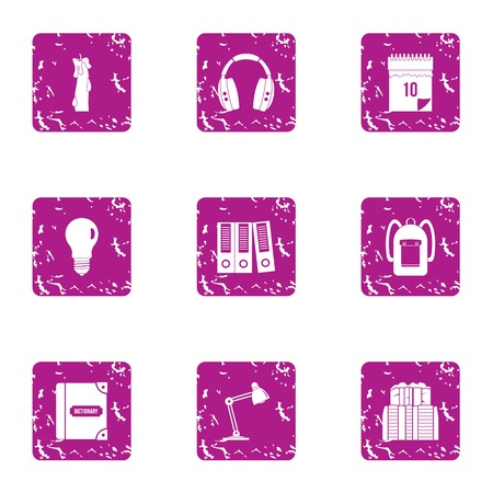 Dim light icons set. Grunge set of 9 dim light vector icons for web isolated on white background