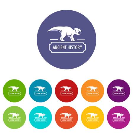 Ancient history icons set vector color Vettoriali