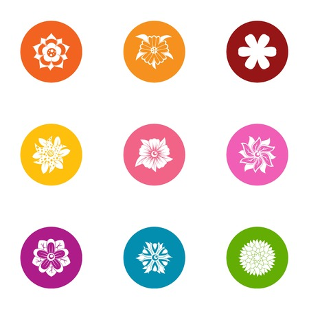 Flower pattern icons set. Flat set of 9 flower pattern vector icons for web isolated on white background