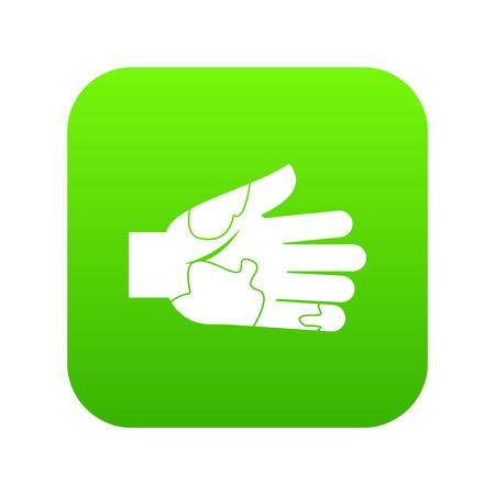 Hand with stains icon digital green for any design isolated on white vector illustration