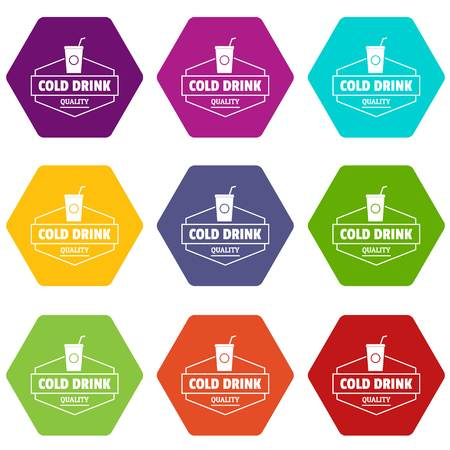 Cold drink icons set 9 vector