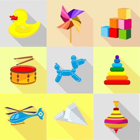 Toy icons set, cartoon style