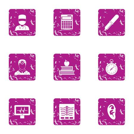 Clinical case icons set, grunge style Vectores