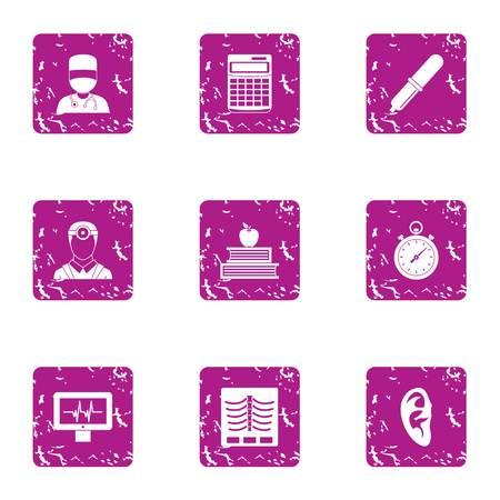 Clinical case icons set, grunge style Illustration