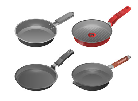 Griddle pan icon set, isometric style