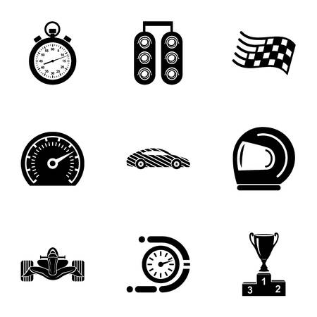 Rally icons set. Simple set of 9 rally vector icons for web isolated on white background