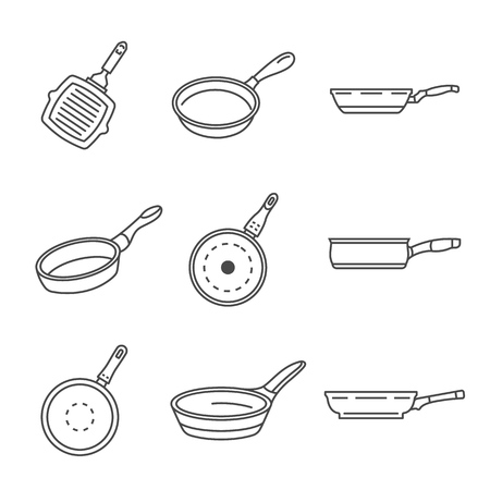 Griddle pan icon set. Outline set of griddle pan vector icons for web design isolated on white background Illustration