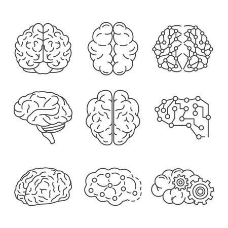 Gedächtnis-Gehirn-Icon-Set. Umreißen Sie einen Satz von Gedächtnis-Gehirn-Vektorsymbolen für das Webdesign, die auf weißem Hintergrund isoliert sind