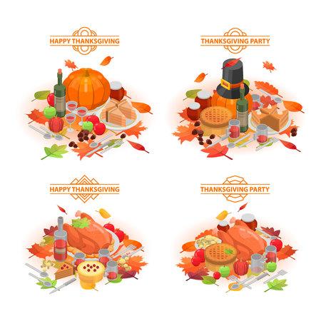 Thanksgiving day banner set. Isometric set of thanksgiving day vector banner for web design Vector Illustration