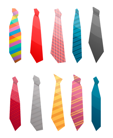 Tie suit icon set. Isometric set of tie suit vector icons for web design isolated on white background