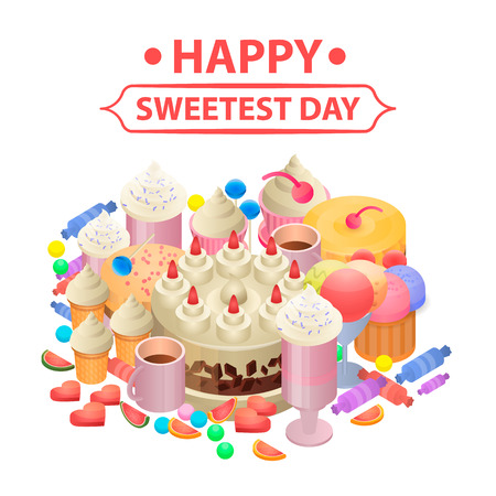 Happy sweetest day concept background. Isometric illustration of happy sweetest day vector concept background for web design
