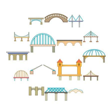 Bridge construction icons set, cartoon style