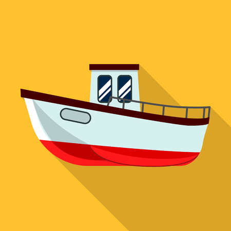 Fishing ship icon, flat style Stock Photo