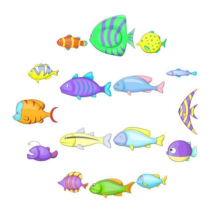 Different fish icons set, cartoon style Stock Photo