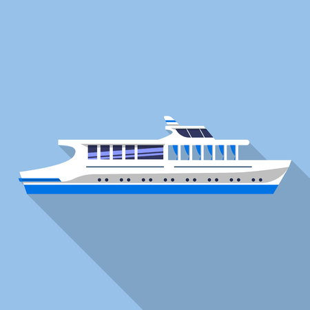 Travel river ship icon, flat style