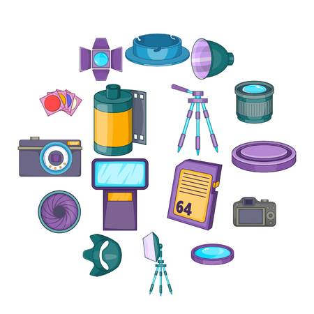 Photo studio icons set. Cartoon illustration of 16 photo studio equipment icons for web Archivio Fotografico