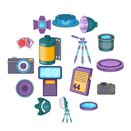 Photo studio icons set. Cartoon illustration of 16 photo studio equipment icons for web Stock Photo