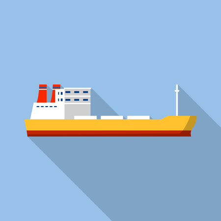 Industrial ship icon. Flat illustration of industrial ship icon for web design Stock Illustration - 108180469