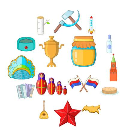 Russia icons set. Cartoon illustration of 16 Russia travel items icons for web