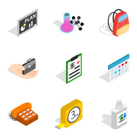 Research area icons set. Isometric set of 9 research area icons for web isolated on white background