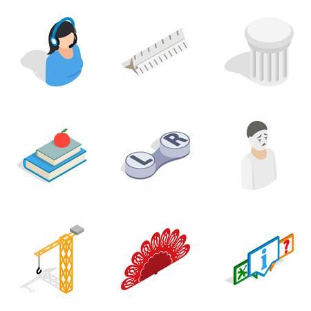 Scientific space icons set. Isometric set of 9 scientific space icons for web isolated on white background