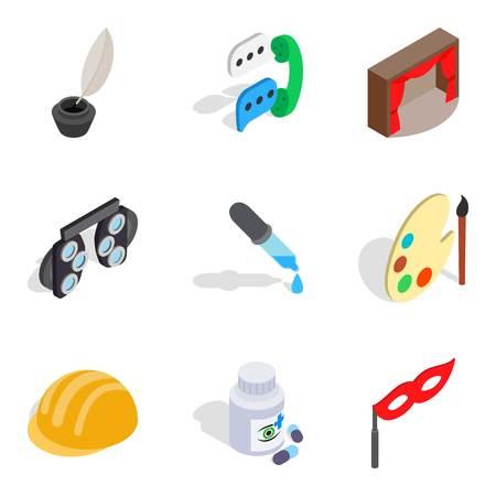 Scientific direction icons set. Isometric set of 9 scientific direction icons for web isolated on white background