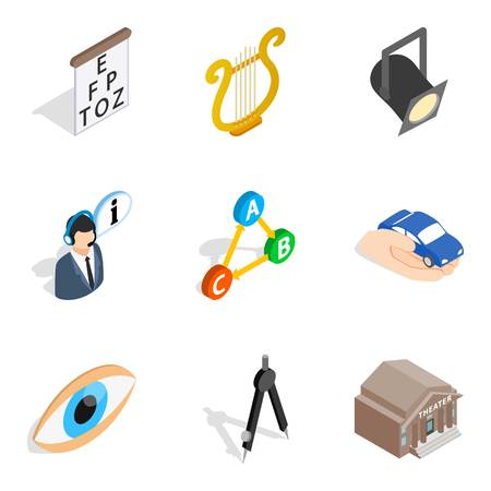 Labour inspector icons set. Isometric set of 9 labour inspector icons for web isolated on white background