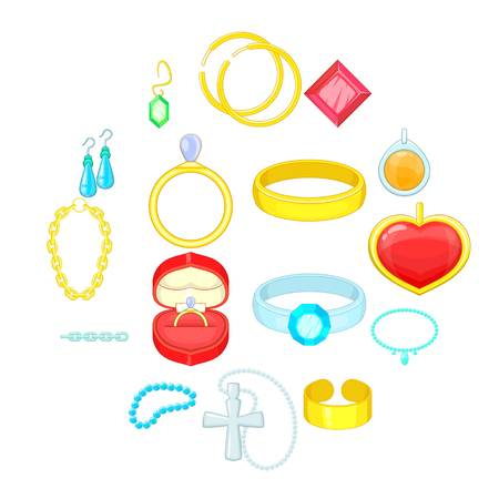 Jewelry items icons set. Cartoon illustration of 16 jewelry items icons for web Stock Photo