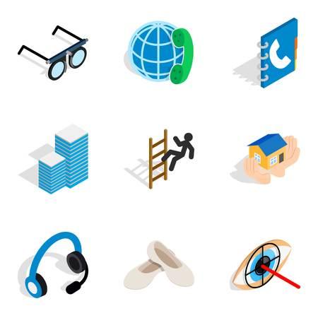 Job sample icons set. Isometric set of 9 job sample icons for web isolated on white background