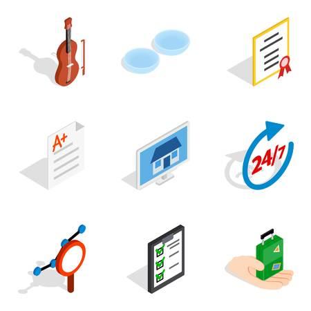 Experimental place icons set. Isometric set of 9 experimental place icons for web isolated on white background