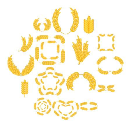 Ear corn icons set. Cartoon illustration of 16 ear corn icons for web Stock Photo
