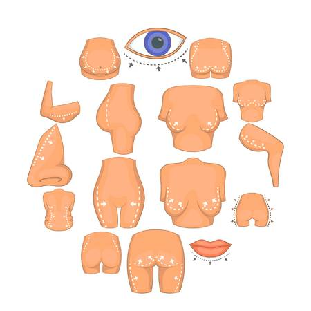 Plastic surgeon icons set. Cartoon illustration of 16 plastic surgeon icons for web Stock Photo