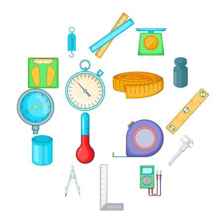 Measure tools icons set. Cartoon illustration of 16 measure tools icons for web Stockfoto
