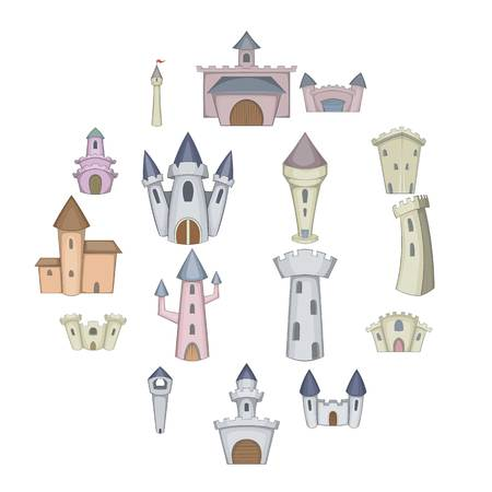Castle tower icons set. Cartoon illustration of 16 castle tower icons for web