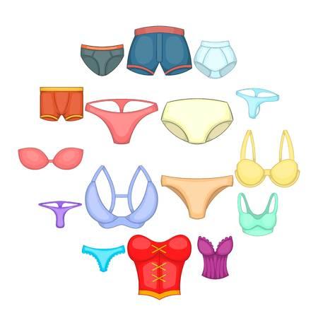 Underwear icons set. Cartoon illustration of 16 underwear icons for web Stok Fotoğraf