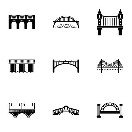 Overpass icons set. Simple set of 9 overpass vector icons for web isolated on white background
