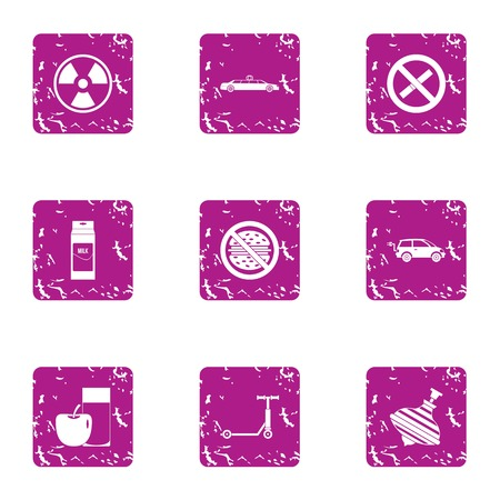 Threat to life icons set. Grunge set of 9 threat to life vector icons for web isolated on white background